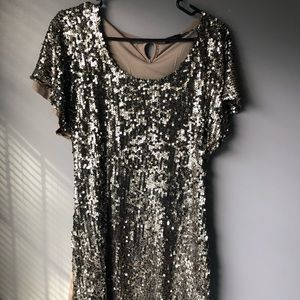 Gold sequined midi length dress